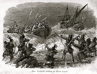 Pequot War - Engraving depicting Endecott's landing on Block Island