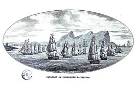 Engraving depicting Bainbridge Squadron off Algiers