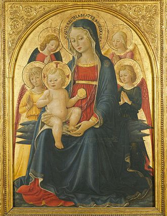 Bartolomeo Caporali - Enthroned Madonna and Child with Four Angels