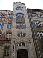 Erzsébetvárosi English-Hungarian Primary School. Monument ID 7963. Main facade, staircase section - Budapest District VII. Dob Street 85.JPG