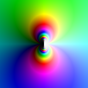 Essential singularity - Plot of the function exp(1/z), centered on the essential singularity at z=0. The hue represents the complex argument, the luminance represents the absolute value. This plot shows how approaching the essential singularity from different directions yields different behaviors (as opposed to a pole, which, approached from any direction, would be uniformly white).