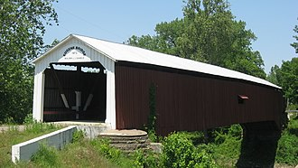 National Register of Historic Places listings in Vermillion County, Indiana - Image: Eugene Covered Bridge from southeast from same level
