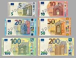 Les billets 100 et 200 euros ont un numéro émeraude (imprimé 2019 sur une machine d'impression)