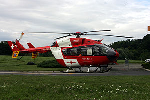 Lausanne Airport - Eurocopter EC 145 of Swiss rescue services based at Lausanne Airport