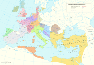 Saxons - Europe in the late 5th century. Most names shown are the Latin names of 5th century peoples, with the exceptions of Syagrius (king of a Gallo-Roman rump state), Odoacer (Germanic king of Italy), and (Julius) Nepos (nominally the last Western Roman emperor, de facto ruler of Dalmatia).