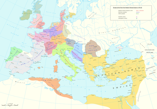 Europe at the fall of the Western Roman Empire in 476 AD. Europe and the Near East at 476 AD.png