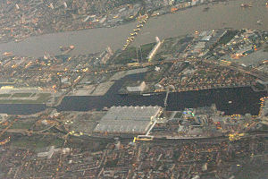 ExCeL London - Aerial view of ExCeL before its extension.
