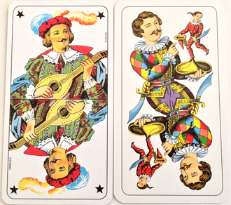 The Fool (Tarot card) - The two most common Fool cards in tarot games, l'Excuse (left) of the Tarot Nouveau and the Sküs (right) of the Industrie und Glück.