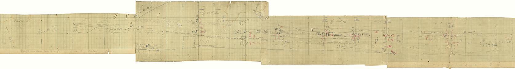 Fältritning. Sektion IV. Profil mellan D och E. Skala 1-20. Sammansatt bild - SMVK - 15895D.tif