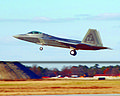 F-22A Virginia ANG takes off from Langley AFB 2007.jpg