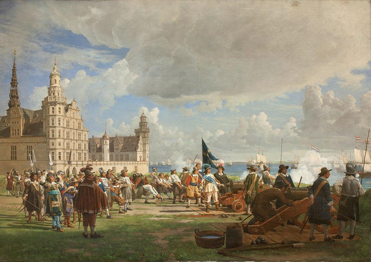 F.C. Lund - Den hollandske flåde under admiral Opdam passerer Sundet d. 29. oktober 1658 under Svenskekrigen 1657-60 - KMS1058 - Statens Museum for Kunst.jpg