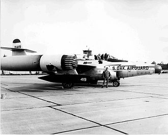 Battle of Palmdale - F-89D loaded with rockets. 114th Fighter Interceptor Group, headquartered at Sioux Falls, in 1958.