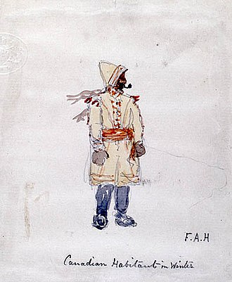 Habitants - Habitant in winter dress, by F.A. Hopkins (1858).