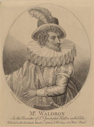 Francis Godolphin Waldron - Francis Godolphin Waldron, 1788 engraving as Sir Christopher Hatton in The Critic, engraved by William Nelson Gardiner after Silvester Harding