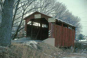 Fowlersville Covered Bridge - The bridge at its original site over West Branch Briar Creek in 1982