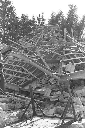 Fedayeen - A demolished Israeli farmhouse, after a fedayeen attack (1956).