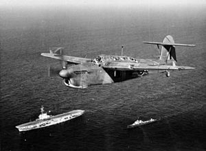 814 Naval Air Squadron - A Fairey Barracuda II of 814 Squadron, Fleet Air Arm flying over HMS Venerable and an attendant destroyer, the Italian Alfredo Oriani.