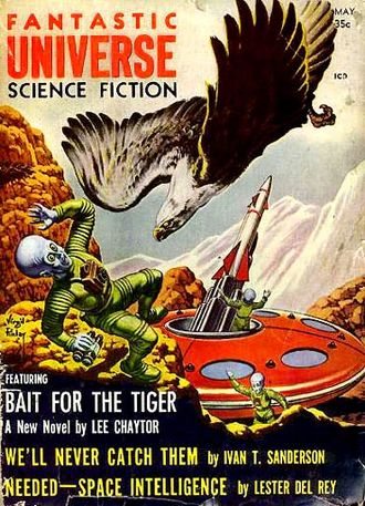 """Elizabeth Chater - Chater's novelette """"Bait for the Tiger"""" was cover-featured on the May 1958 issue of Fantastic Universe"""