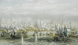 Battle of Fatshan Creek - Advance of British boats during the naval battle at Fatshan Creek, by Oswald Walters Brierly