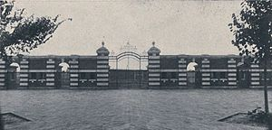 1906 Michigan Wolverines football team - Front entrance and gates to the newly completed Ferry Field, c. October 1906
