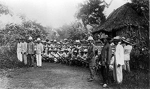 Campaigns of the Philippine–American War - Filipino soldiers outside Manila 1899