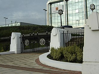 Golden Mile (Brentford) - The gates and part of the exterior railings of the former Firestone factory, all that remains of the demolished buildings.