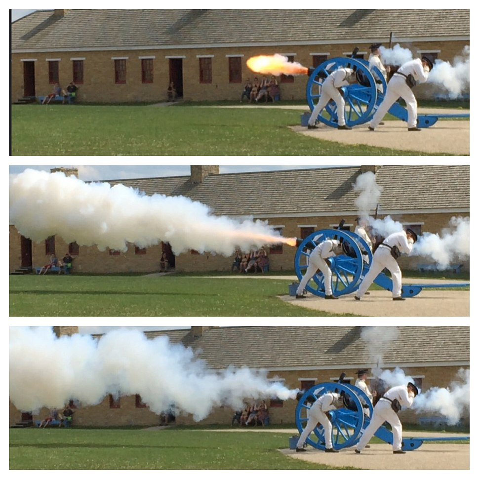 Firing of a 6 pound cannon