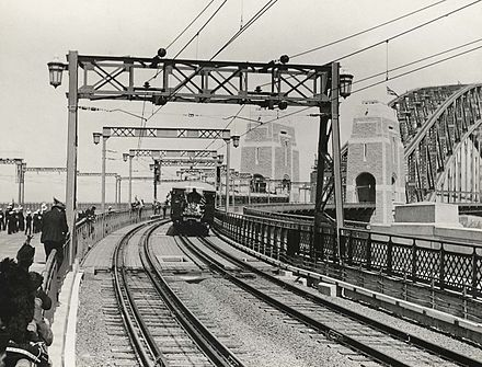 First passenger train crossing the bridge, 19 March 1932 First passenger train over Sydney Harbour Brisge.jpg