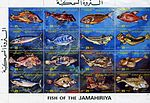 Fish of the Jamahiriya. Sheet of stamps 16 x 25 dirham. Libya. (5843276292).jpg