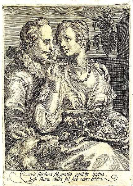 """Smell"" - Third  of a set of 5 engravings depicting the Senses. Jan Saenredam (1565–1607."