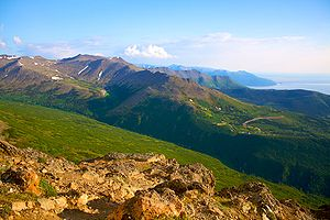 Flattop Mountain (Anchorage, Alaska) -  View from Flat Top Peak during Alaskan summer