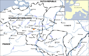 Battle of Fleurus (1690) - The Spanish Netherlands. Fleurus sits midway between Namur and Charleroi near the Sambre River.