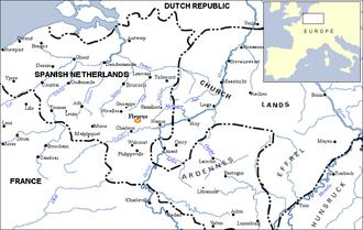 Battle of Fleurus (1690) - The Spanish Netherlands. Fleurus sits midway between Namur and Charleroi near the Sambre River.