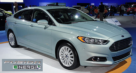 The Ford Fusion Energi plug-in hybrid shares its powertrain with the Ford C-Max Energi. Ford Fusion Energi SEL with badge WAS 2012 0583.jpg