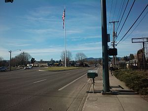 Forest Grove, Oregon - The 120-foot (36-meter) flagpole on Pacific Avenue between Maple and Laurel streets, looking west.
