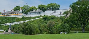 Fort Mackinac - Fort Mackinac, high up on the limestone bluffs overlooking the main town on Mackinac Island