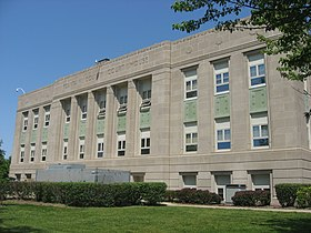 Fountain County Courthouse front, southern angle.jpg