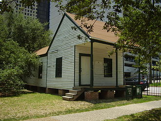 "Fourth Ward, Houston - The ""Fourth Ward Cottage"" - A cottage dating back to at least 1866 that is now in Sam Houston Park in Downtown Houston"