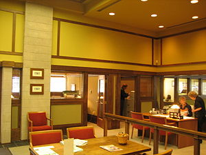 Frank L. Smith Bank - The exposed interior limestone was restored during the 1960s.