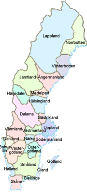 The 25 provinces of Sweden