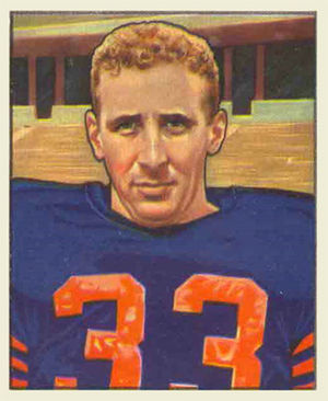 "Fred ""Curly"" Morrison - Morrison on a 1950 Bowman football card"