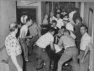 Freedom Riders - A mob beats Freedom Riders in Birmingham. This picture was reclaimed by the FBI from a local journalist who also was beaten and whose camera was smashed.