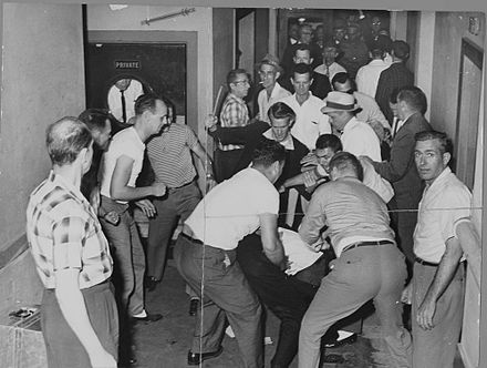 A mob beats Freedom Riders in Birmingham. This picture was reclaimed by the FBI from a local journalist who also was beaten and whose camera was smashed. Freedom Riders attacked.jpg