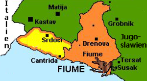 Free State of Fiume - German map of Fiume