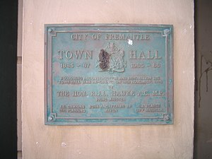 Fremantle Town Hall - Plaque for reconstruction on Fremantle Town Hall