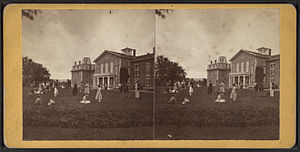 John Humphrey Noyes - The Mansion House and community members in a 19th-century stereoview