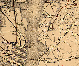 Fort Greble - This map shows the location of Fort Greble near the conjunction of the Anacostia and Potomac Rivers as well as its proximity to the city of Alexandria, Virginia. To the northeast are Forts Carroll and Snyder.