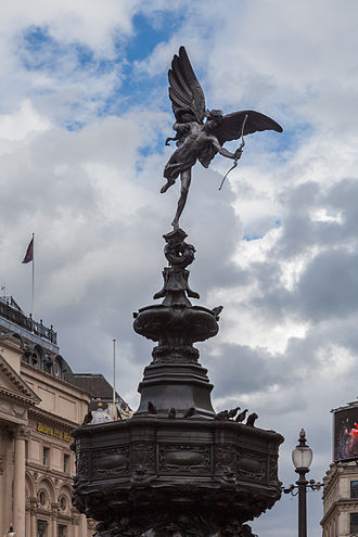 "Alfred Gilbert - The Shaftesbury Memorial Fountain in Piccadilly Circus, depicting Anteros as ""the Angel of Christian Charity"", but popularly referred to as Eros. One of the first statues to be cast in aluminium."