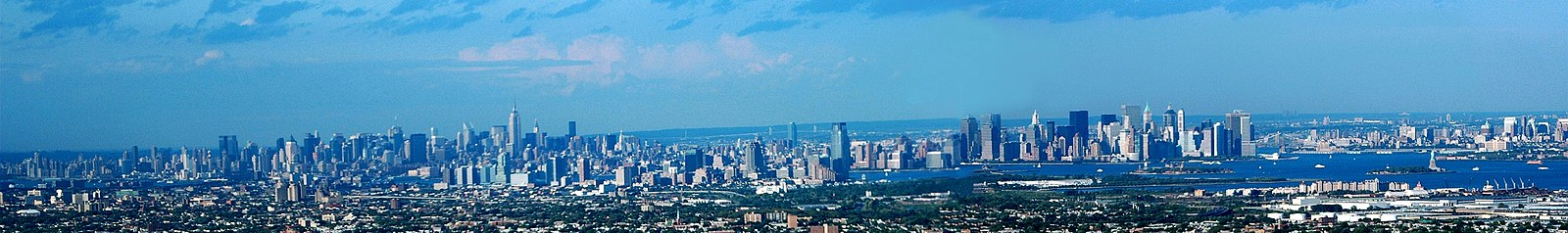 Skyline over New York City og Jersey City set fra Newark, New Jersey.