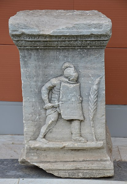 File funerary carved relief of a roman gladiator found at